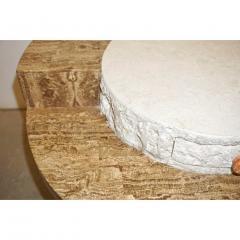 Marzio Cecchi Marzio Cecchi 1970s Italian Vintage White and Ochre Stone Round Side Sofa Table - 479348