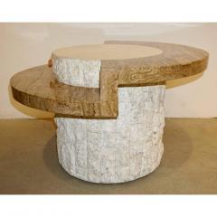 Marzio Cecchi Marzio Cecchi 1970s Italian Vintage White and Ochre Stone Round Side Sofa Table - 479349