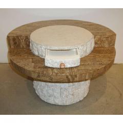 Marzio Cecchi Marzio Cecchi 1970s Italian Vintage White and Ochre Stone Round Side Sofa Table - 479350