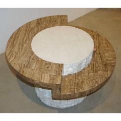 Marzio Cecchi Marzio Cecchi 1970s Italian Vintage White and Ochre Stone Round Side Sofa Table - 479351