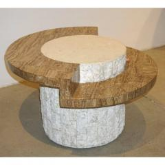 Marzio Cecchi Marzio Cecchi 1970s Italian Vintage White and Ochre Stone Round Side Sofa Table - 479352