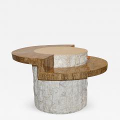 Marzio Cecchi Marzio Cecchi 1970s Italian Vintage White and Ochre Stone Round Side Sofa Table - 479827