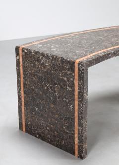 Marzio Cecchi Marzio Cecchi 1970s Pink White Veined Black and Beige Marble Italian Desk - 742765