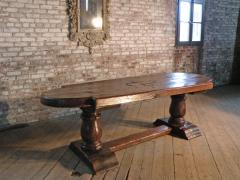 Massive 19th Century French Elm and Oak Trestle Table - 1307511