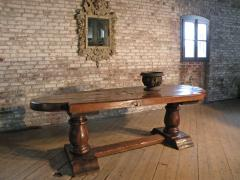 Massive 19th Century French Elm and Oak Trestle Table - 1307512