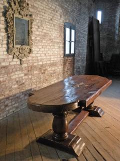 Massive 19th Century French Elm and Oak Trestle Table - 1307514