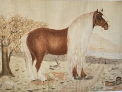 Massive British Watercolor of a Barge Horse Named Bob Signed M N Carr - 1618680