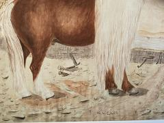 Massive British Watercolor of a Barge Horse Named Bob Signed M N Carr - 1618681
