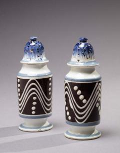 Matched Pair of Cylinder Form Mochaware Pepper Pots - 366887