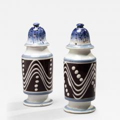 Matched Pair of Cylinder Form Mochaware Pepper Pots - 367792