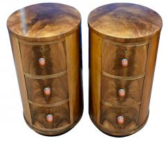 Matching Pair of Art Deco Oval Shaped Bedside Cabinet Tables Circa 1930 - 1105899