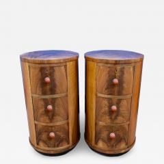 Matching Pair of Art Deco Oval Shaped Bedside Cabinet Tables Circa 1930 - 1106979