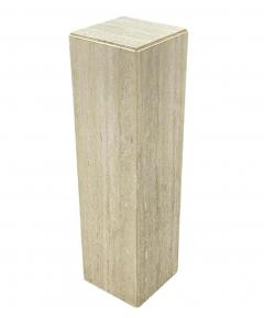 Matching Pair of Mid Century Italian Post Modern Travertine Marble Pedestals - 2059021
