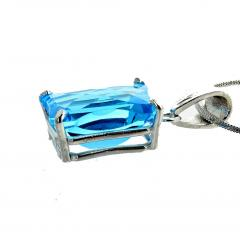 Matching Set of Blue Topaz Ring and Pendant set in Sterling Silver - 1865967