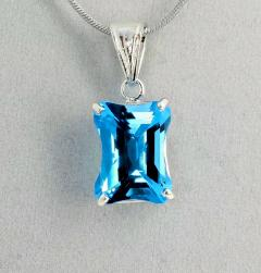 Matching Set of Blue Topaz Ring and Pendant set in Sterling Silver - 1865969