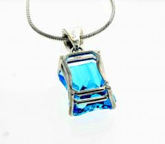 Matching Set of Blue Topaz Ring and Pendant set in Sterling Silver - 1865970