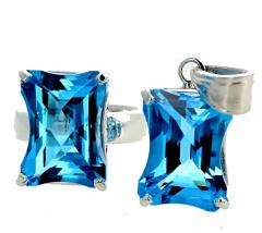 Matching Set of Blue Topaz Ring and Pendant set in Sterling Silver - 1865976