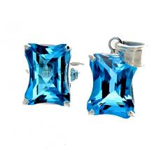 Matching Set of Blue Topaz Ring and Pendant set in Sterling Silver - 1865977