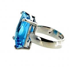 Matching Set of Blue Topaz Ring and Pendant set in Sterling Silver - 1865979