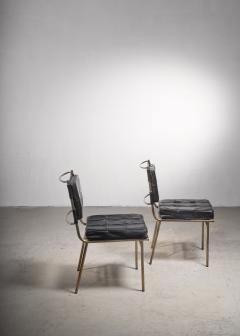 Mathieu Mat got Mathieu Mat got Rare Pair of Brass and Leather Chairs France - 2120499