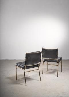 Mathieu Mat got Mathieu Mat got Rare Pair of Brass and Leather Chairs France - 2120500