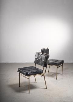 Mathieu Mat got Mathieu Mat got Rare Pair of Brass and Leather Chairs France - 2120501