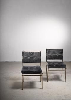 Mathieu Mat got Mathieu Mat got Rare Pair of Brass and Leather Chairs France - 2120502