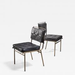 Mathieu Mat got Mathieu Mat got Rare Pair of Brass and Leather Chairs France - 2122596