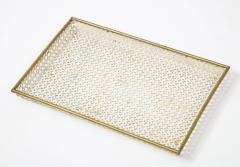 Mathieu Mat got Mathieu Mat got White Tray Perforated Metal Brass Enamel France c 1950 - 1309682