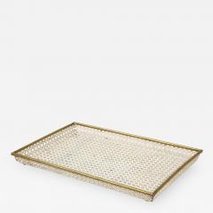 Mathieu Mat got Mathieu Mat got White Tray Perforated Metal Brass Enamel France c 1950 - 1311739