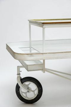Mathieu Mat got Mathieu Mategot Serving Cart with Removable Tray in White Enameled Metal - 727167