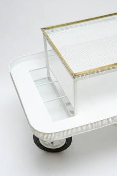 Mathieu Mat got Mathieu Mategot Serving Cart with Removable Tray in White Enameled Metal - 727170