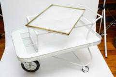 Mathieu Mat got Mathieu Mategot Serving Cart with Removable Tray in White Enameled Metal - 727171
