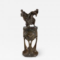 Maurice Dufr ne French Art Nouveau Gilt Bronze Clock by Dufr ne - 1308928