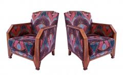 Maurice Dufr ne Pair of French Late Art Deco Mahogany Bergeres - 1049954