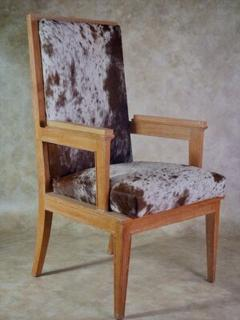 Maurice Jallot Maurice Jallot Pair of Oak Armchairs with Pony Hide - 1570134