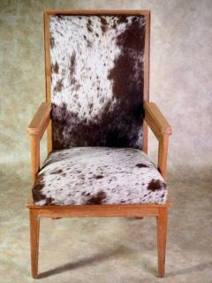 Maurice Jallot Maurice Jallot Pair of Oak Armchairs with Pony Hide - 1570173