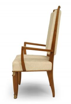 Maurice Jallot Set of Eight French Mid Century Oak and White Silk Dining Chairs - 1438916