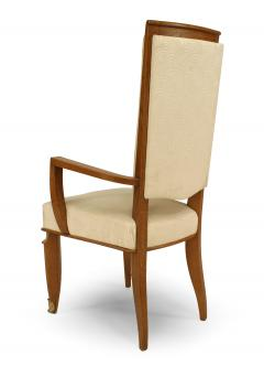 Maurice Jallot Set of Eight French Mid Century Oak and White Silk Dining Chairs - 1438917