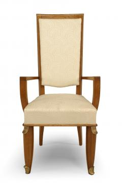 Maurice Jallot Set of Eight French Mid Century Oak and White Silk Dining Chairs - 1438919