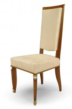 Maurice Jallot Set of Eight French Mid Century Oak and White Silk Dining Chairs - 1438920