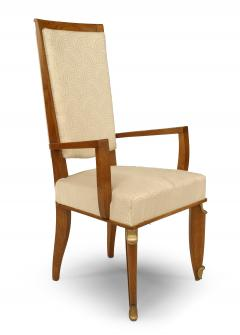 Maurice Jallot Set of Eight French Mid Century Oak and White Silk Dining Chairs - 1438921