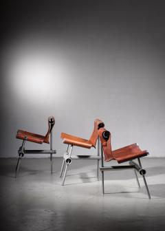 Max Gottschalk Max Gottschalk set of 3 prototype leather sling chairs - 1633292