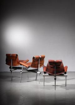 Max Gottschalk Max Gottschalk set of 3 prototype leather sling chairs - 1633293