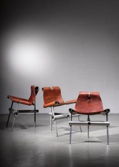 Max Gottschalk Max Gottschalk set of 3 prototype leather sling chairs - 1633294
