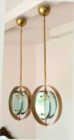 Max Ingrand Mid Century Brass Green Murano Glass Pendants Max Ingrand Fontana Arte style - 1028560