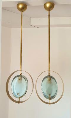 Max Ingrand Mid Century Brass Green Murano Glass Pendants Max Ingrand Fontana Arte style - 1028561