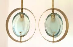 Max Ingrand Mid Century Brass Green Murano Glass Pendants Max Ingrand Fontana Arte style - 1028564