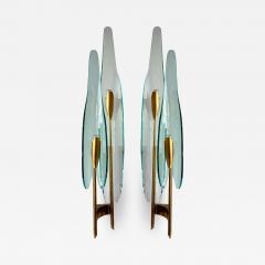 Max Ingrand Pair of Dahlia Sconces by Max Ingrand for Fontana Arte Italy 1950s - 2075821