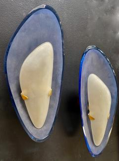 Max Ingrand for Fontana Arte Exceptional Pair of Blue Glass Sconces Italy 1960 - 1410647